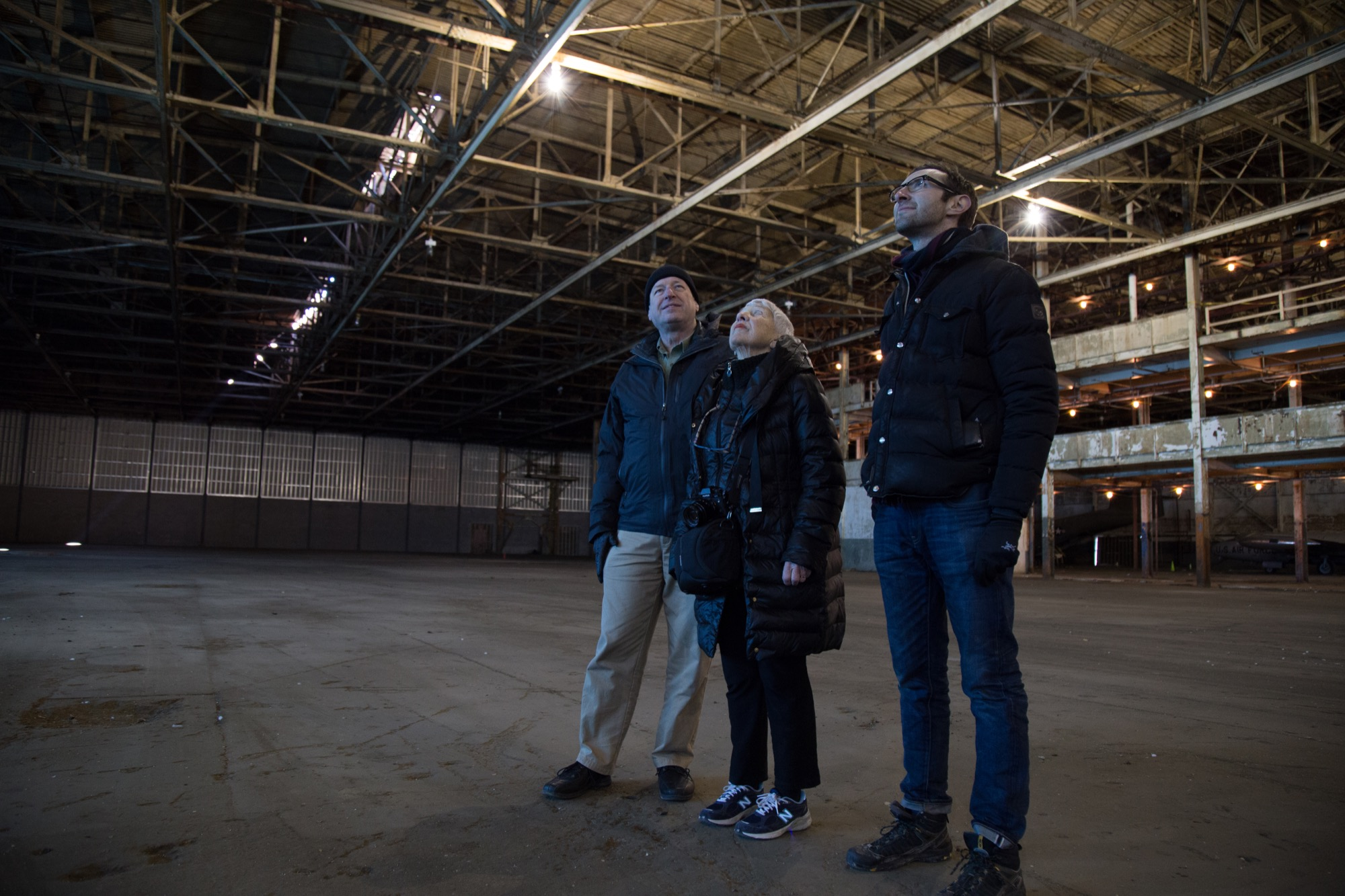 Ruben and her collaborators, Steven Hartke and Seth Bernstein, in the Willow Run factory.