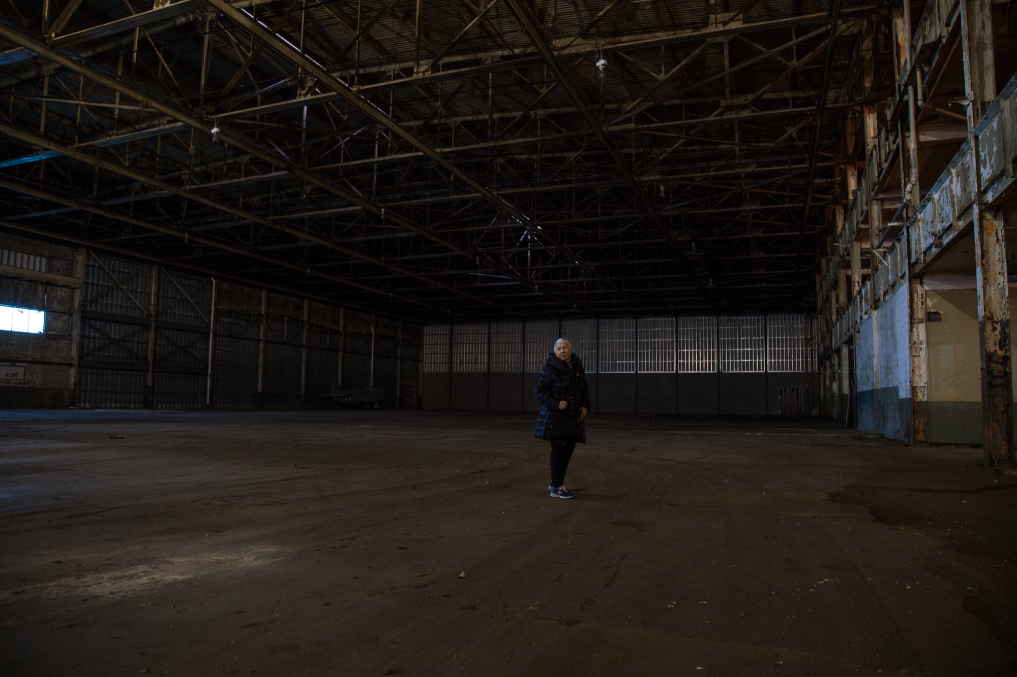 Willow Run's interior is so large that Ruben almost blends into its immensity.