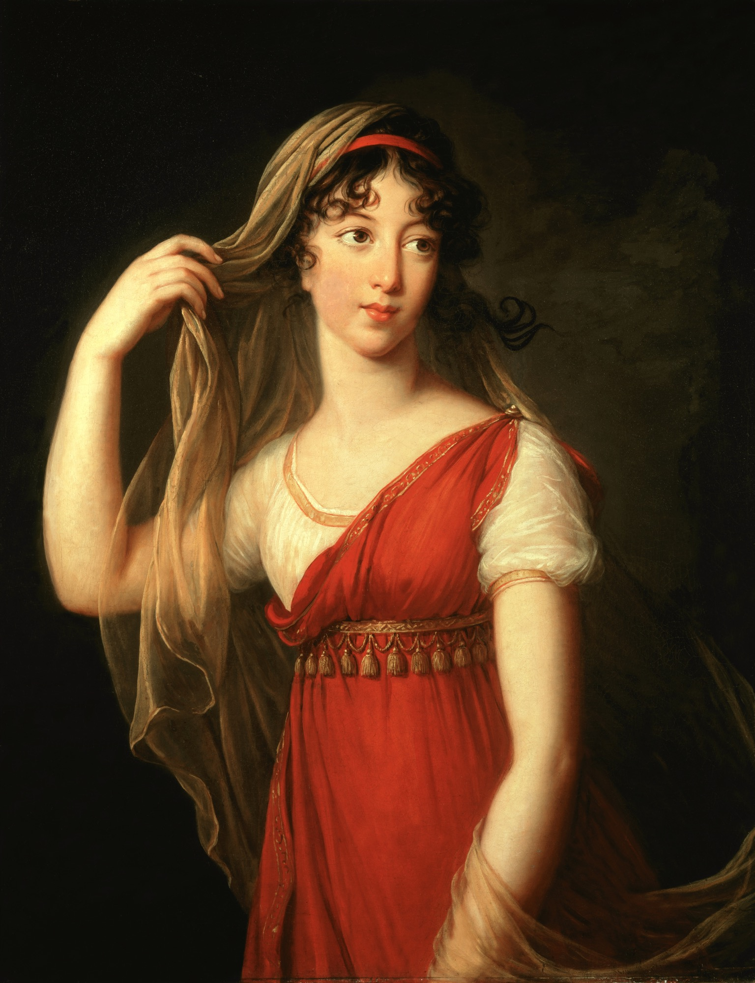"Elisabeth Louise Vigée Le Brun, ""Portrait of a Young Lady, possibly Charlotte Dillon, with Red Stole and Veil,"" 1803, oil on canvas. Collection of Trish Turner and Thomas McConnell © Sotheby's / akg-images"