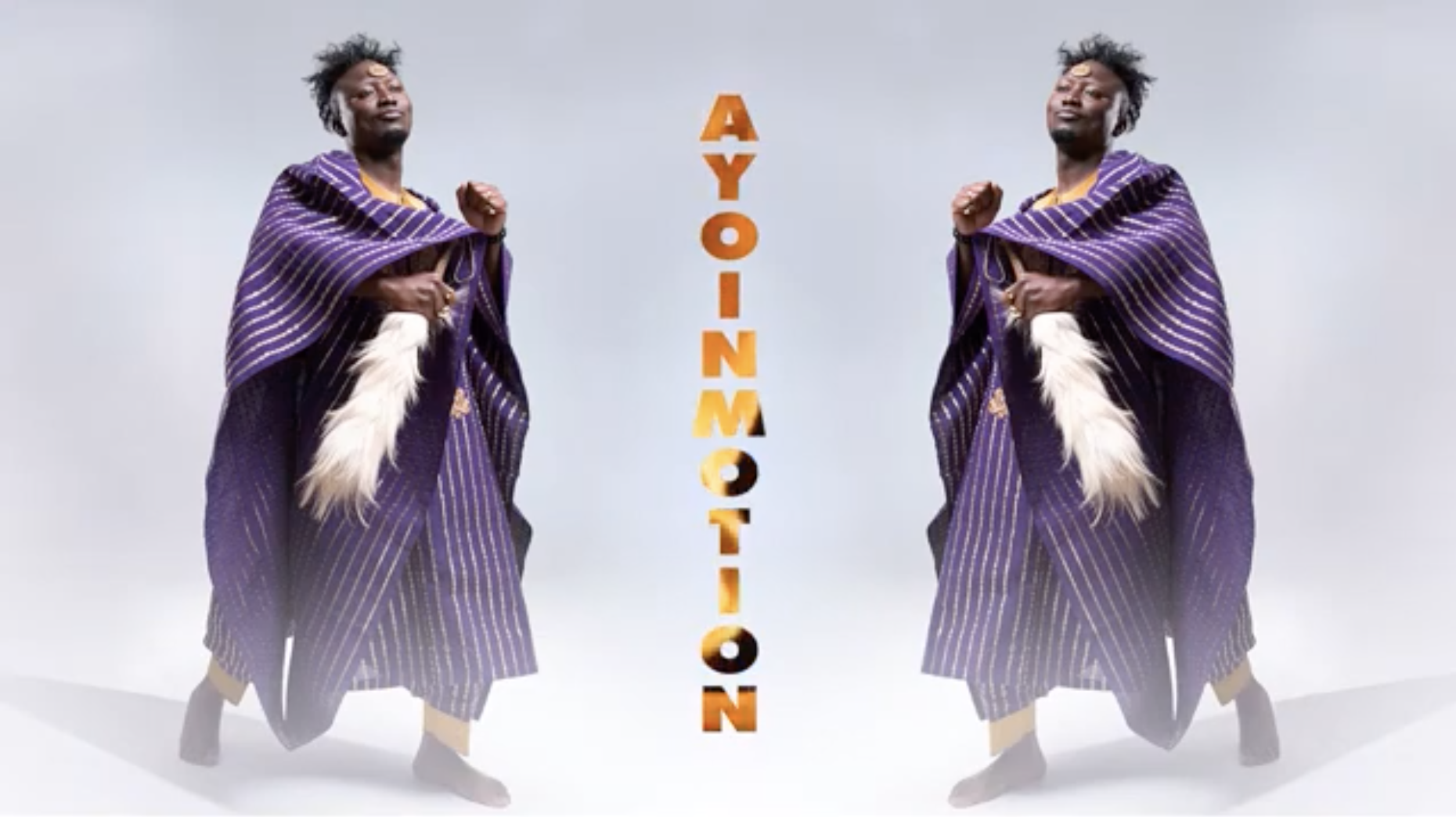 A Black man (the singer Ayoinmotion) is wearing a purple outfit. The image is mirrored on the other side.