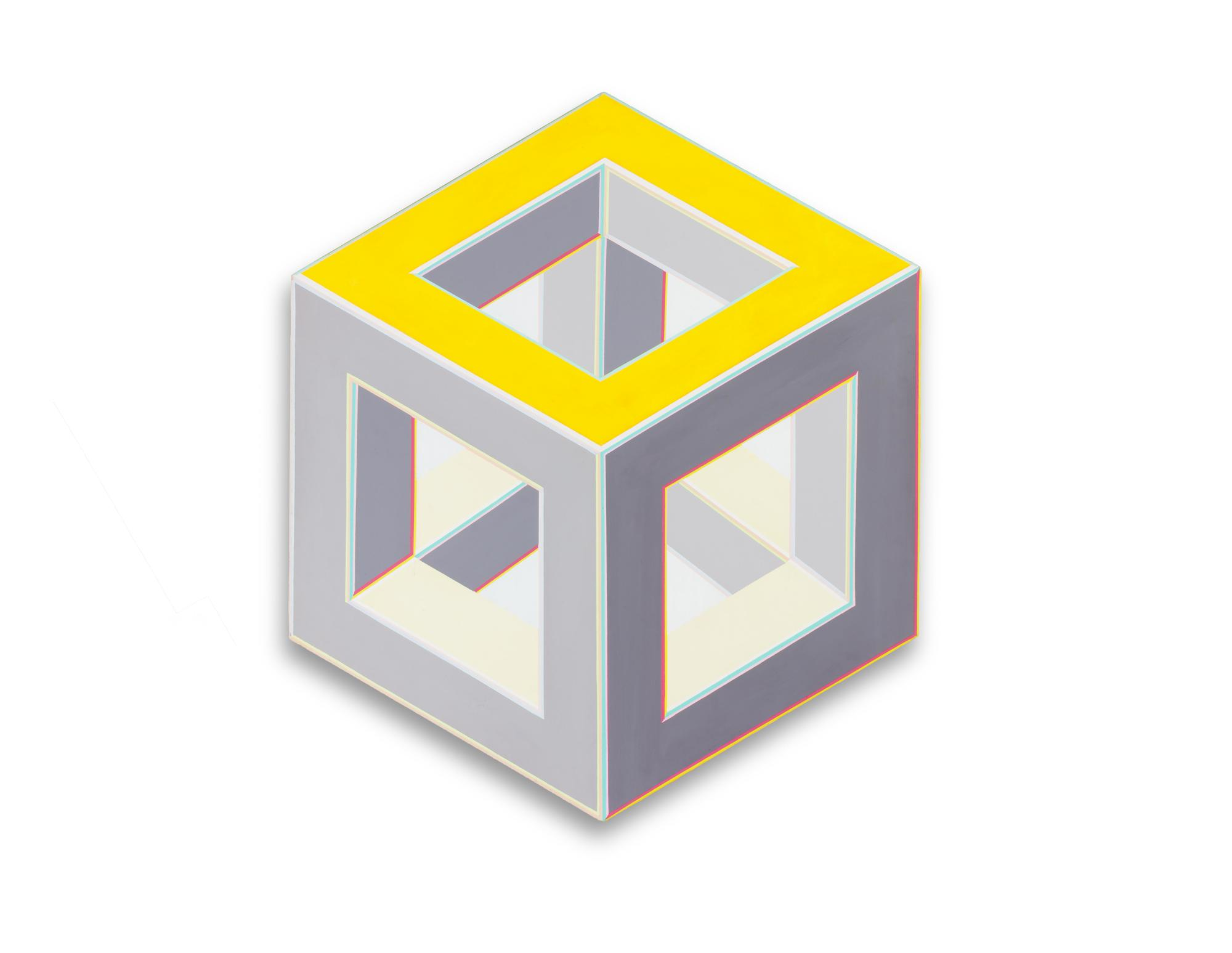 Painting of a 3-D cube offset on a biased angle from above. The cube has thicker edges and is hollow in the center. The top face's edges are bright yellow, the side edges are grey and the inside edges are a pale yellow.