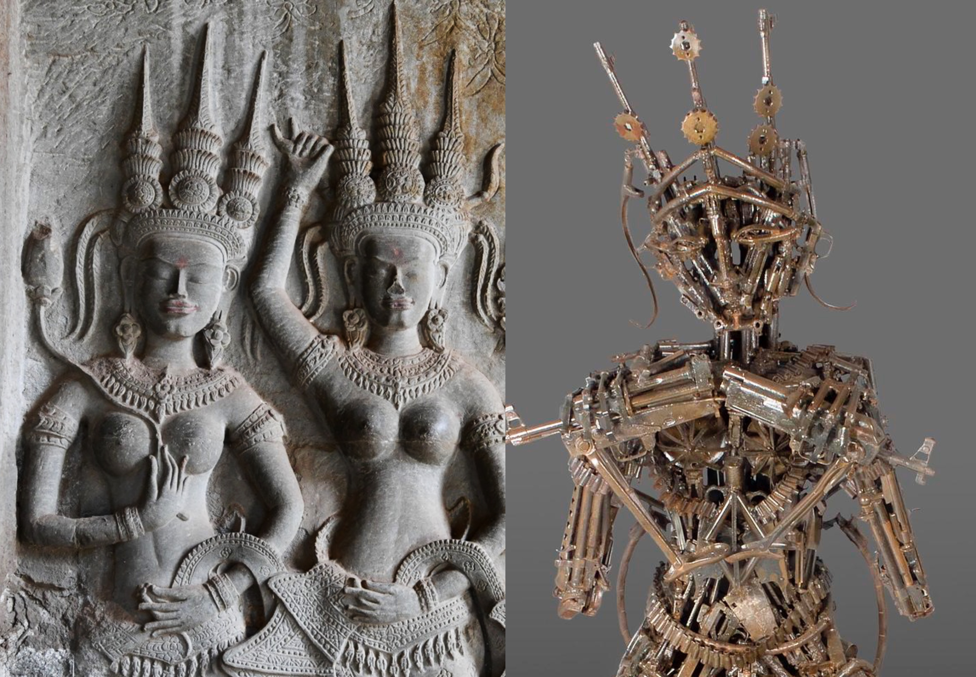 The image is split in two. On the left side, it is a carving of two feminine-looking figurse wearing headdresses, on gray stone. On the right side, it is a brown sculpture of a person made out of guns.