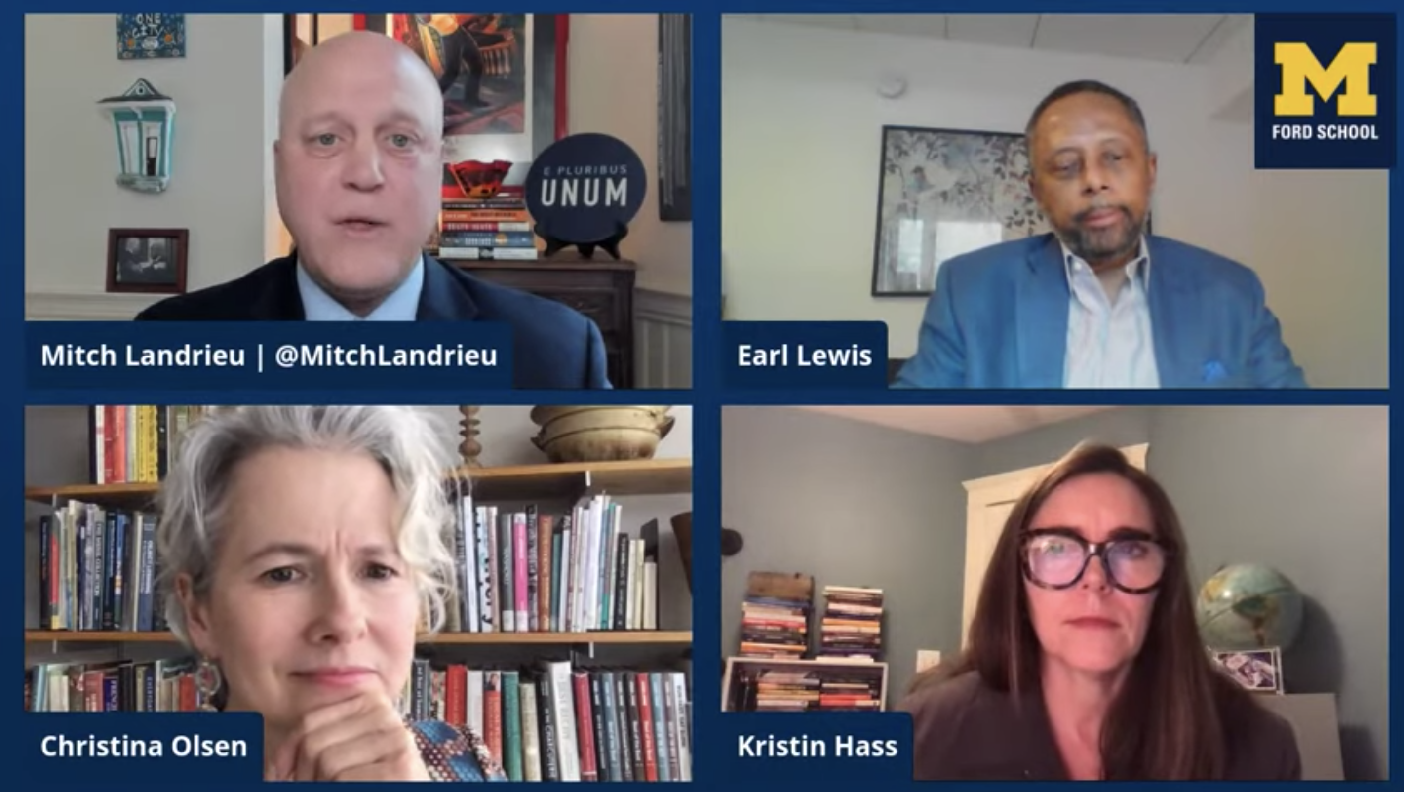 Mitch Landrieu, Earl Lewis, Christina Olsen, and Kristen Hass speak to one another on a Zoom screen.