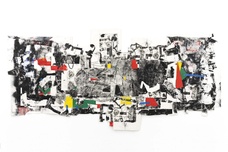 Cullen Washington, Jr., Agora 1, 2017, mixed media collage on canvas