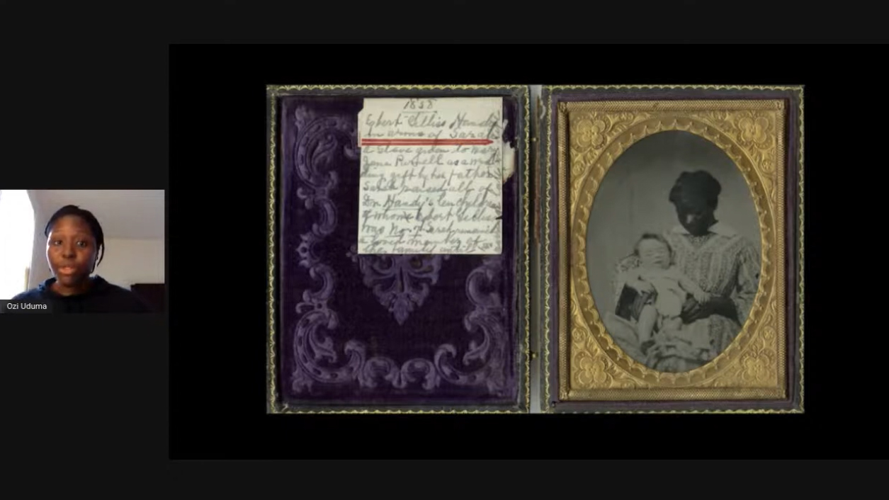 """Ozi Uduma speaking during a recent virtual tour, entitled """"Articulations of Blackness, Black Life, and Black History in University of Michigan Museum of Art's Collections""""."""