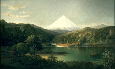 Landscape painting with white mountain peak in center background, body of water in foreground, and a Native American encampment to left.