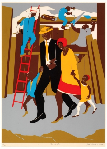 The color screenprint depicts four dark skinned figures walking past a construction site—likely a family. The man is dressed in a black suit, black shoes, yellow tie, and tan hat. The woman wears a red and white dress, yellow jacket, and red cap. The little girl stands to the left of mother, holding her hand. She wears a yellow dress, white tights, brown shoes, and a red cap. A small boy wears brown pants, tan shoes, a yellow shirt, and blue jacket. He stands to the right of the father and holds his hand.