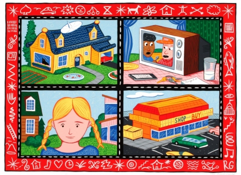 This colorful print is broken up in to four panels, which are divided by a black border with white dashes and then surrounded by a red border, which includes designs in white. In the upper left panel is the image of a blue and yellow house. The upper right shows a television set sitting on a table alongside a glass of milk, a key ring, notepad, plate, and cell phone. In the lower left panel, the bust of a girl with blonde hair in pig-tail braids is standing in front of two houses, one traditional and one mo
