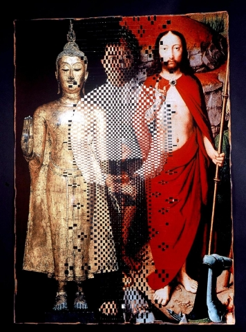 Image comprised of three figures with the central figure interwoven between a Buddhist statue and a Christ-like figure in a red robe. The material of the work is cut into strips and is woven together.