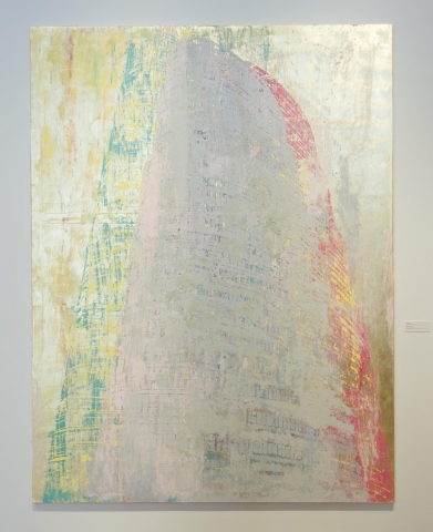 Swaths of gold, grey, green and pink on a canvas. Their shape resembles a skyscraper