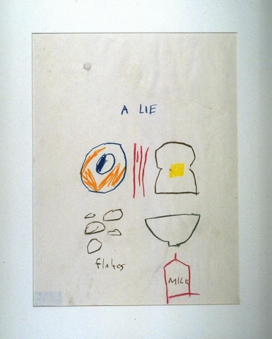 """This is a line drawing done in colors of red, orange, blue, yellow, brown and green, on white paper. In the top center portion of the sheet are the words, """"A LIE"""". Below this are forms that resemble an egg, a slice of bacon, a piece of bread with a pat of yellow butter. Below these forms are some round shapes, labeled """"flakes"""", a bowl and a carton of milk, labeled """"milk""""."""