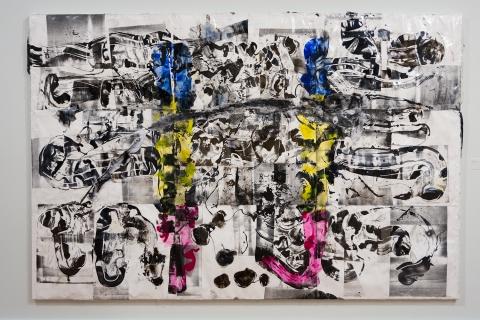 Agora 10 2019 Mixed media collage on canvas Courtesy the artist