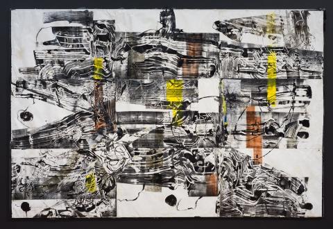 Agora 6 2018 Mixed media collage on canvas Courtesy the artist