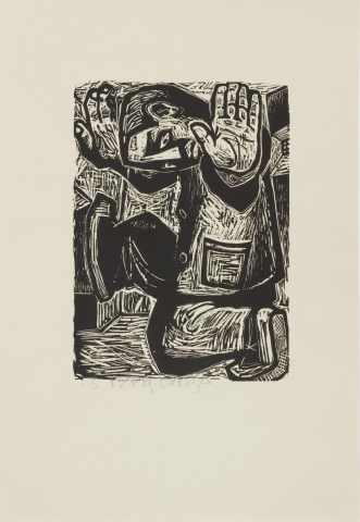 """This woodblock print depicts a man in trousers and a jacket compacted into the space of the print. The man is kneeling on his left knee while his right foot is raised and pushed up against a surface on the left of the image. Both of his arms are raised, with the left jutting out towards the viewer and the palm of his hand is fully visible. The numbered and print is signed (l.c.) """"3 Pepe Ortega"""" in pencil."""