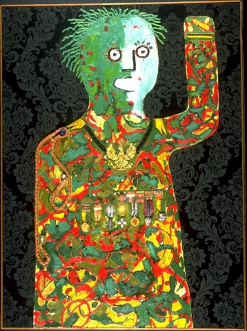 This collage depicts the torso and head of a figure consuming the majority of the composition. The left, handless, arm is raised up at a 90 degree angle in salute. The skin and hair is green, eyes are large white circles with small pupils, and the mouth is a white oval. The black and grey background has a pattern of elaborate floral wallpaper and the figures clothing, resembling a military uniform, is made of colorful splotches with a row of medals across the chest.