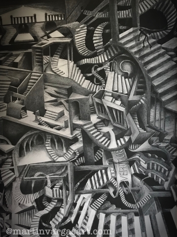 A charcoal drawing of twisting staircases