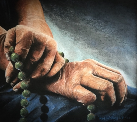 A pastel drawing of two hands overlapping, each holding part of a rosary