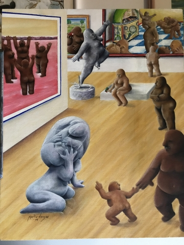 A painting of universal human forms exploring a museum space