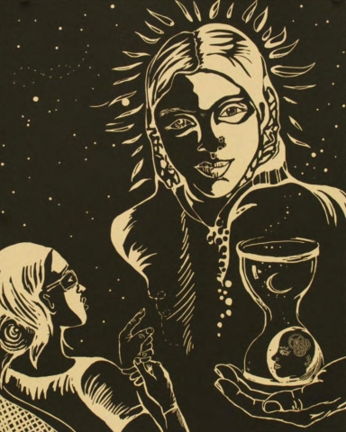 A simple, two-tone palette.  The torso of a woman appears against a starlit sky. Another woman, in the lower-left corner, looks at the woman and appears to point at her with her left index finger. An upturned hand, holding an hour-glass with a human head in the bottom, appears in the lower right corner.