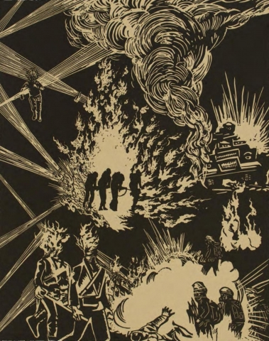 No. 23 of a series of 27 prints. A simple, two-tone palette. In the center of the image, four human figures are silhouetted against raging flames. On their right is a vehicle billowing flames and smoke. In the lower portion of the image are two people with flaming heads carrying a stretcher, while other figures, wearing gasmasks, stand amidst more billowing flames.