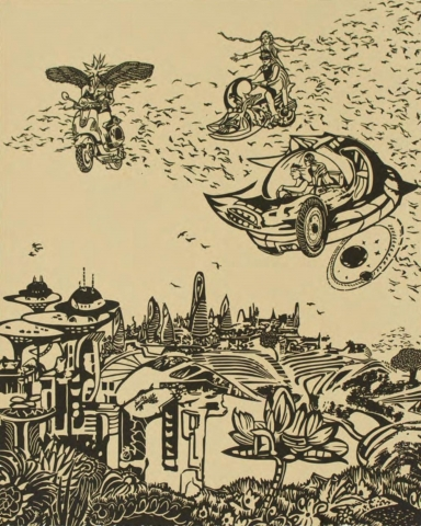 No. 25 of a series of 27 prints. A simple, two-tone palette. Three unique flying vehicles, operated by one or two people and surrounded by a flock of birds, hover in the sky over a futuristic-looking city.