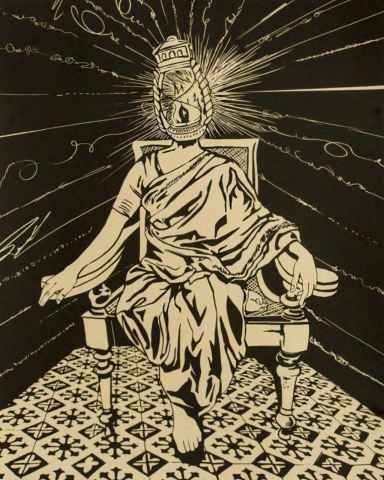No. 26 of a series of 27 prints. A simple, two-tone palette. A human figure with a glowing, lantern shaped head, sits in an armchair facing the viewing. One leg is tucked under the other, they are barefoot and wearing a draped, robe garment. The chair sits on a patterned floor and is surrounded by blackness interrupted by squiggled lines.