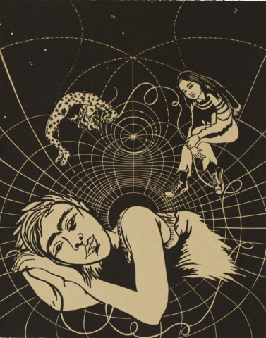 No. 27 of a series of 27 prints. A simple, two-tone palette. Three female figures appear to be floating in space, with a web-like vortex surrounding them. At the bottom, a  female figure looks at the viewer while resting on her side, with her left arm below her head. Behind her is another woman covered in splotches and doing a backbend. The third, young woman sits with one leg over the other and leans forward.