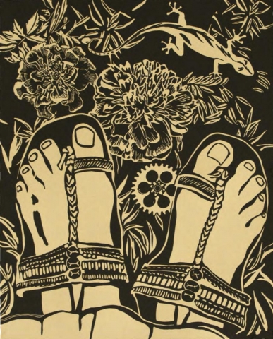 A simple, two-tone palette.  A pair of feet, wearing sandals, are seen looking down from the sandal-wearer's point of view. In view below the feet are flowers, a lizard and a mechanical gear.