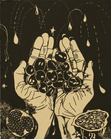 No. 9 of a series of 27 prints. A simple, two-tone palette.  A pair of cupped hands holds several cherry-sized objects while a few water droplets spew in the background. In the lower-left corner there is a bisected pomegranate. In the lower-right corner there is a bisected Kiwano melon.