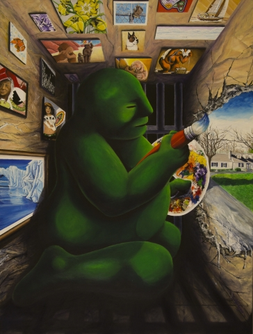 a large, green Pudgie sits in a tightly confined space painting the outside world on a wall