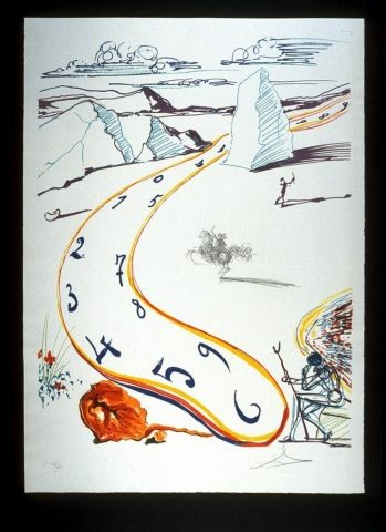 Winding through the center of this print, a melting clock oozes from the top right to the bottom center in red, yellow and blue. To the left of the base of the clock is a bright orange and red bolder.
