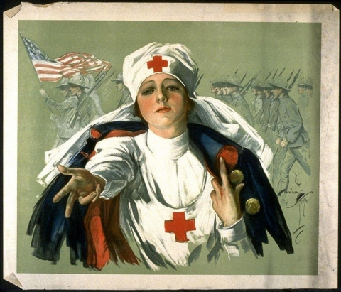 A print of a war-time nurse with a soldier's uniform draped over her shoulders. The Nurse's arm is outstretched as if she is offering her assistance.