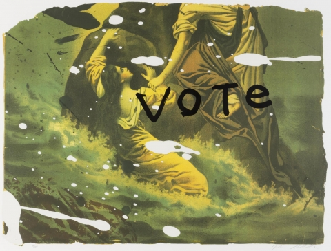 Image of two women, one standing and one sitting. The upper half of the standing woman is not visible. The word 'vote' in black lettering is superimposed over the two women.
